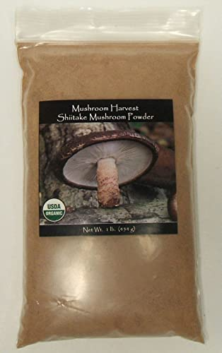 Shiitake Mushroom Powder, Certified Organic, Made in USA Xiang Gu or Dong Gu Lentinula Edodes, Bulk 1 lb 16oz Shitake