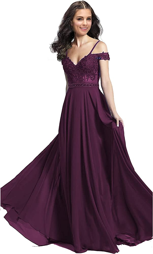 afb149e674a7 Lily Wedding Womens Off Shoulder Aline Prom Dress Long Beaded Chiffon Evening  Formal Ball Gown GD38. Back. Double-tap to zoom