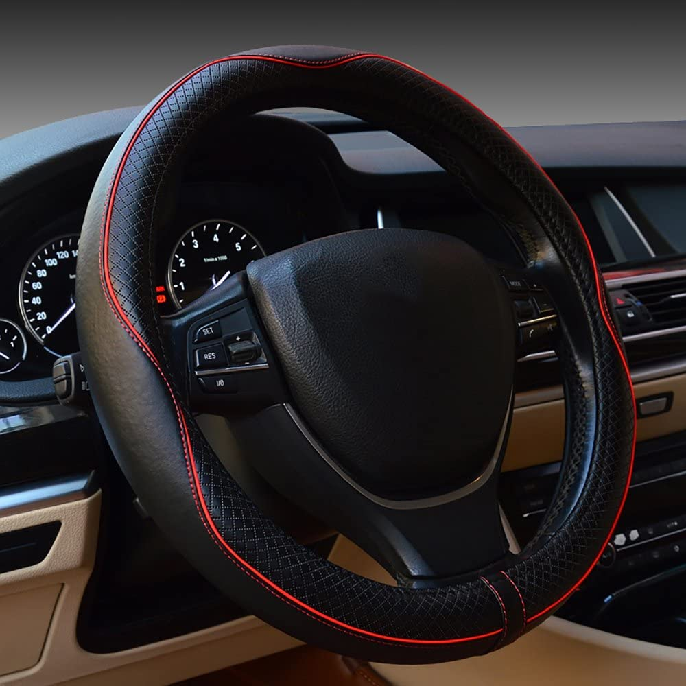 Red Black Car Vehicle Carbon Fiber Breathable Anti-Slip Steering Wheel Cover Protector
