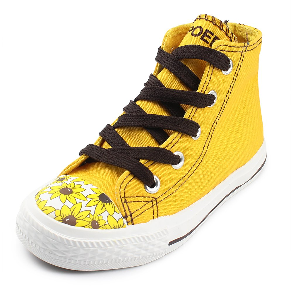 Gungun Girl's High-Top Lace Up Canvas Sneakers With Sunflower Print, Yellow, Size 5 Big Kid