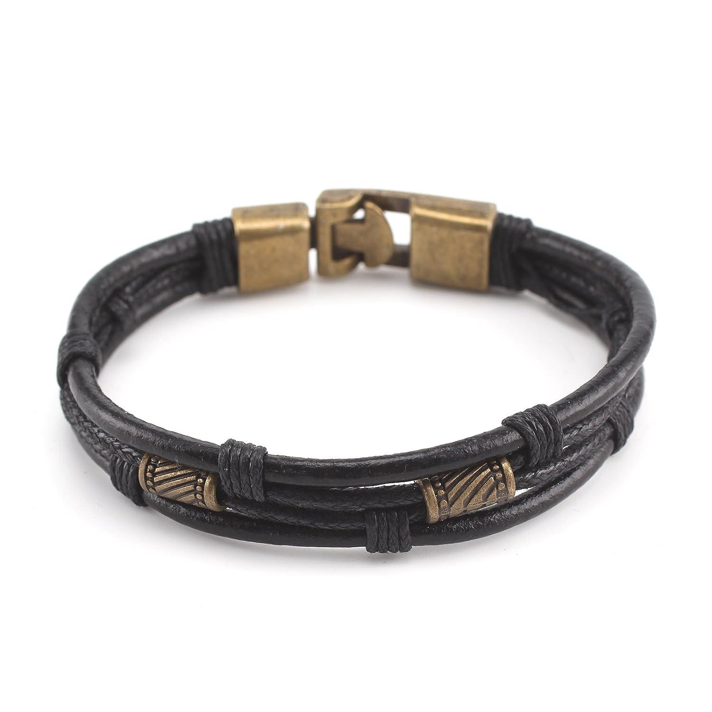 3x Leather Mens Bracelet Surfer Wristband Wrap Multi Row Steel Clasp Gift Bag UK