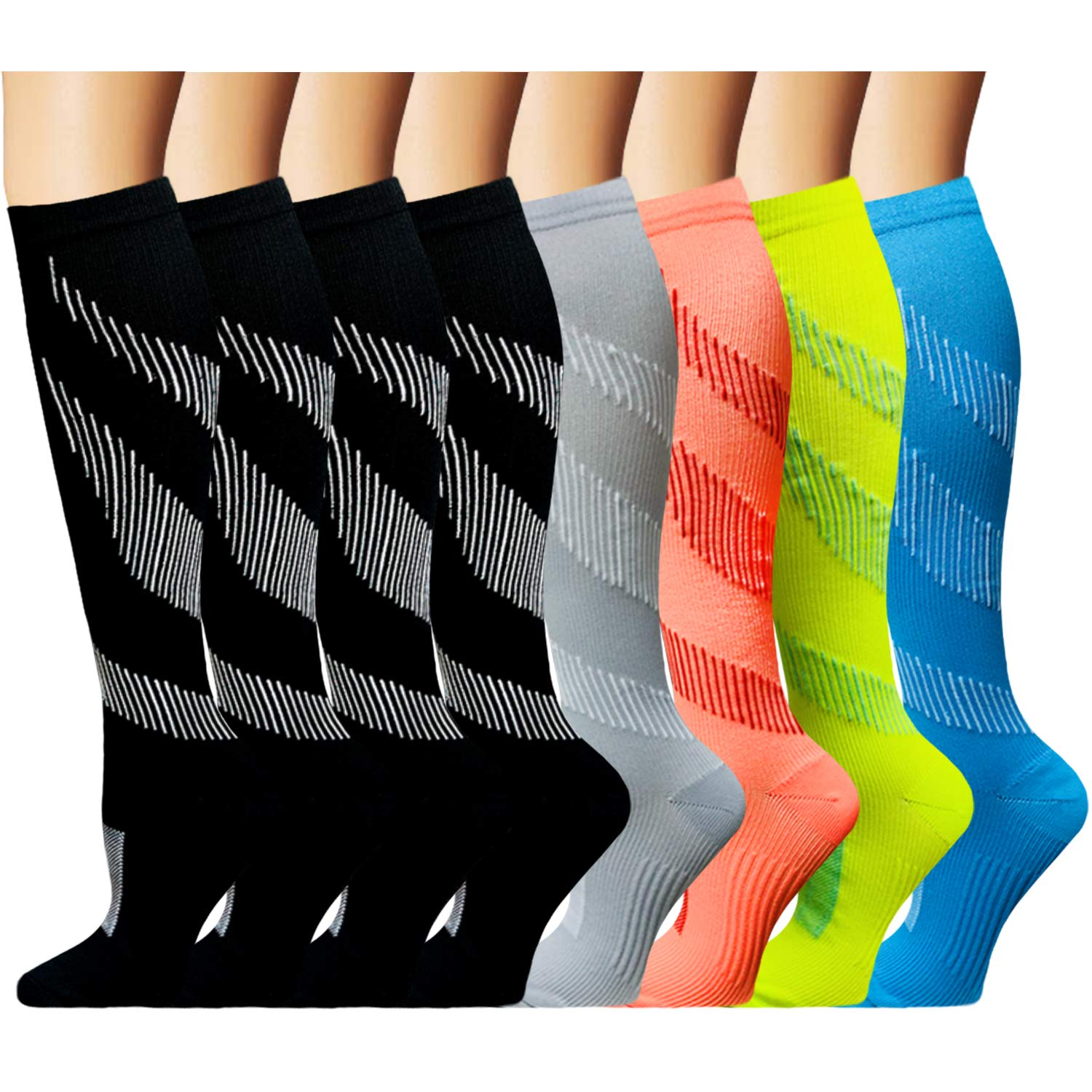 Compression Sock for Women & Men (8 Pairs)- Best Medical for Running, Athletic Sports, Crossfit, Fitness(S/M) by Iseasoo