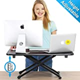 FITUEYES Height Adjustable Standing Desk Gas Spring Riser Desk Converter for Dual Monitor Sit to Stand in Seconds…
