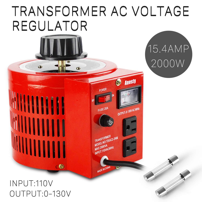 Anesty Auto Transformer AC Variable Voltage Converter Transformer Regulator 2KVA 0-130V (L) by Anesty (Image #2)