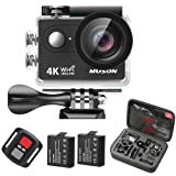 "4K Sport Action Camera Muson Ultra HD Camcorder 12MP Wifi 30M Waterproof Camera 170 Degree Wide View Angle 2.0"" LCD Screen 2.4G Remote Control/2 Rechargeable Batteries/19 Accessories Kits"