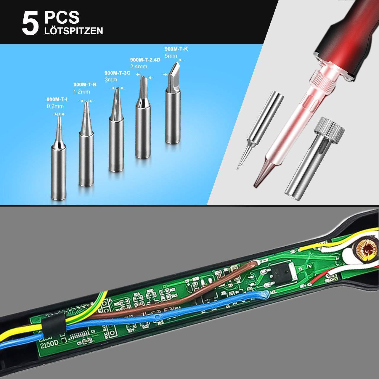 Sommeil Fonction avec /Écran LCD 68W Fer /à Souder Correction de la Temp/érature LYLIN Professionnel fer /à souder /électronique Temp/érature R/églable Soudure Electrique 5 Pcs Pointes /à Souder
