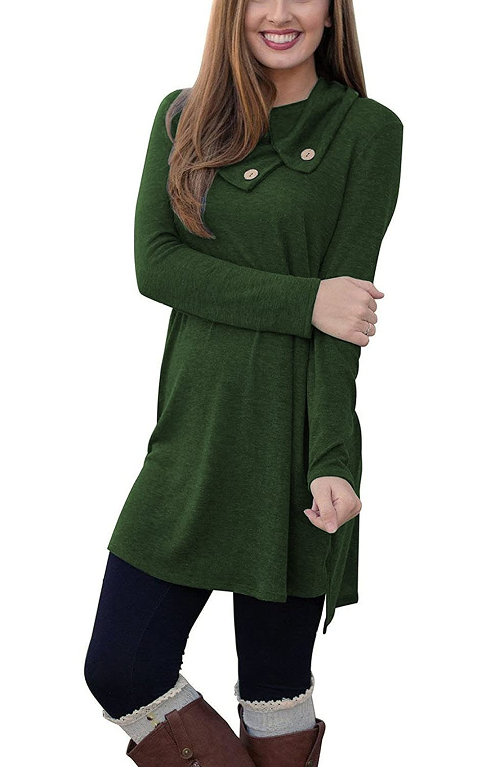 Our Precious Women's Long Sleeve Button Lapel Neck Sides Slit ...