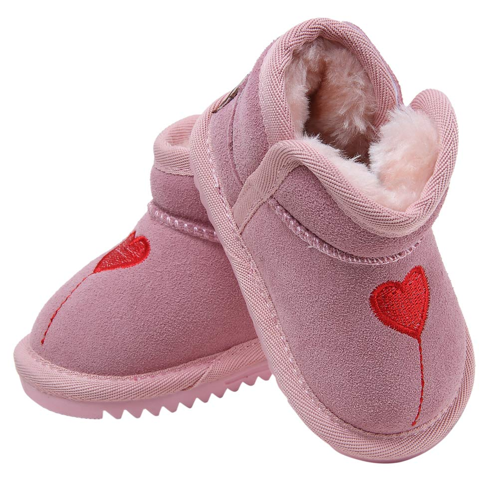 Baby Boys Girls Suede Plush Rubber Sole Non-Slip Outdoor Warm Snow Boots