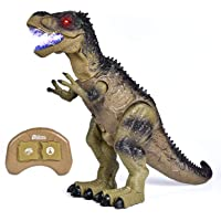 """Remote Control Dinosaur Toys for Boys, 18.5""""(L)×13.3""""(H) Large Size with Walking & Lights & Roaring & Spraying, RC T-Rex Birthday Gift for Boys"""