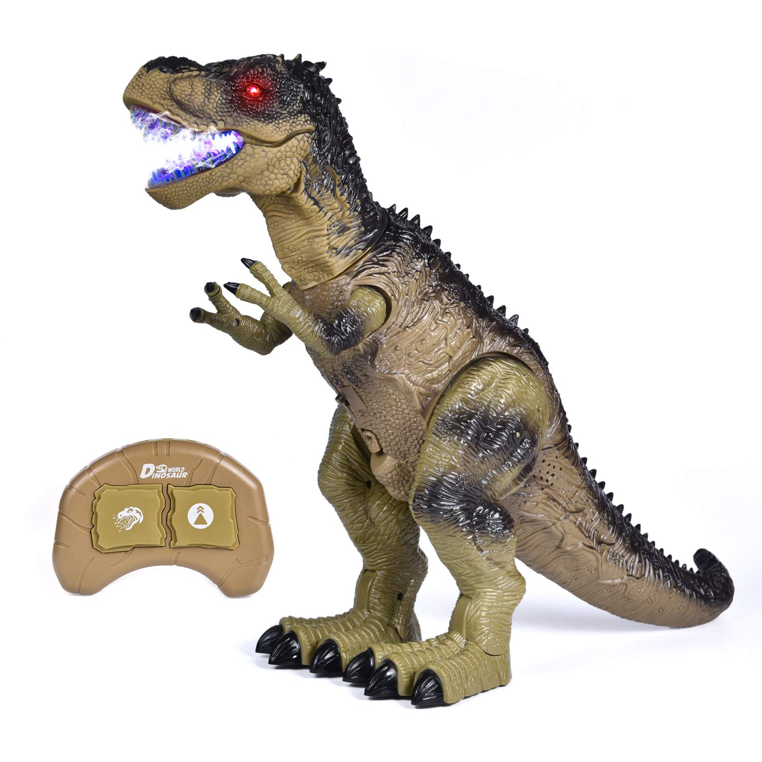 Remote Control Dinosaur Toys for Boys 18.5 L 13.3 H Large Size Walking Lights Roaring and Spraying RC T Rex Birthday Gift for 3 Year Old Boys