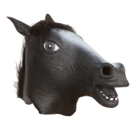halloween party costume latex horse mask by capital costumes black