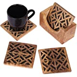 Wooden rustic coaster holder set for drink Decorative Set of 4 Coasters for Drinks like Tea, Coffee, Beer Mug, Wine Glass with Black inlay work Hand Carved Kitchen Dining Accessory (Design 1)