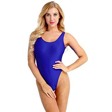 786b2eaced Freebily Sexy Women One Piece Swimsuits High Cut Low Back Leotard Thong  Bodysuit Bathing Suits Blue