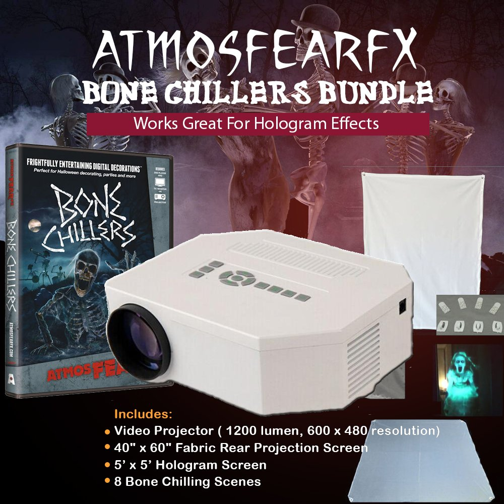 Atmosfearfx Bone Chillers Video Projector, Dvd, Screen Bundle and Flash Drive