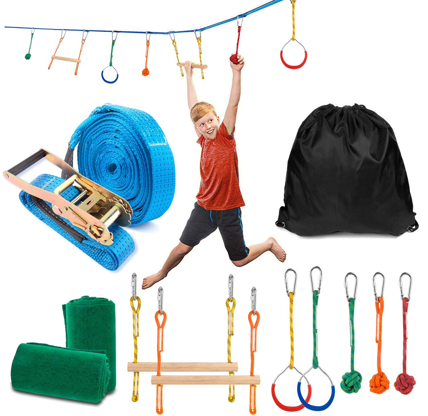 Sonyabecca Ninja Obstacle Course Kit with 7 Hanging Swing Obstacles Warrior Training with 40FT Slackline 2 Gymnastic Rings 3 Monkey Fists Monkey 2 Mokey Bar Holds 2 Tree Protector by Sonyabecca