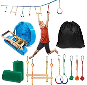 Sonyabecca Ninja Obstacle Course Kit with 7 Hanging Swing Obstacles Warrior Training with 40FT Slackline 2 Gymnastic Rings 3 Monkey Fists Monkey 2 Mokey Bar Holds 2 Tree Protector