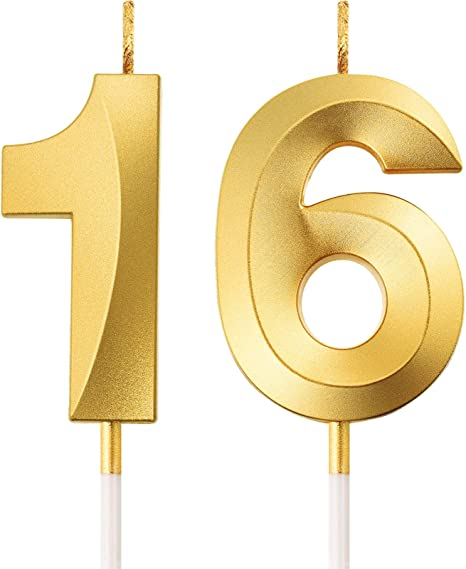Syhood 16th Birthday Candles Cake Numeral Candles Happy Birthday Cake Candles Topper Decoration for Birthday Wedding Anniversary Celebration Supplies Black