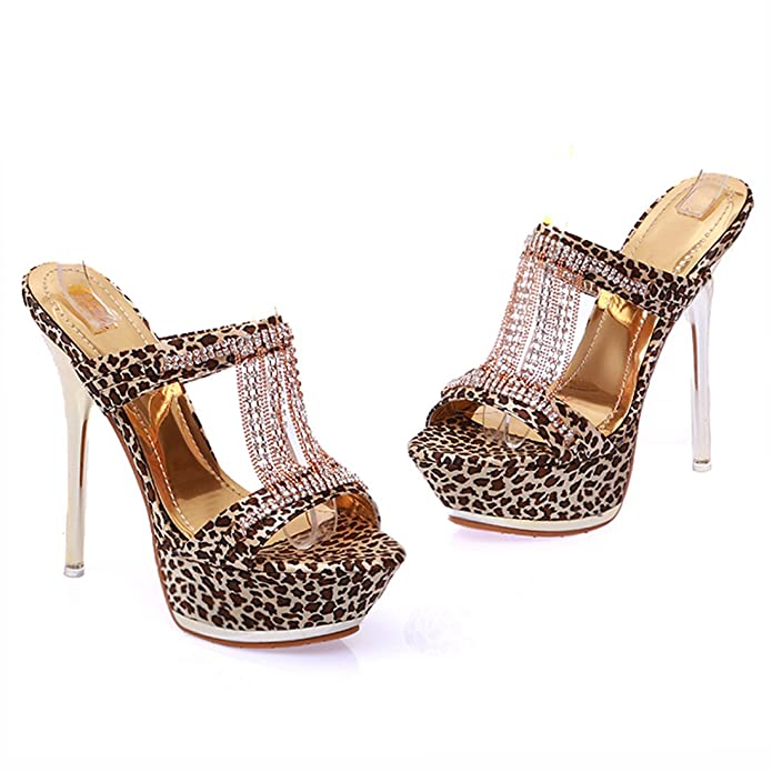 89876950a2cf Atyche Women s Leopard Print Shoes Extremely High Heels Mules Open Toe  Court Shoes with Rhinestones Stiletto Slippers  Amazon.co.uk  Shoes   Bags