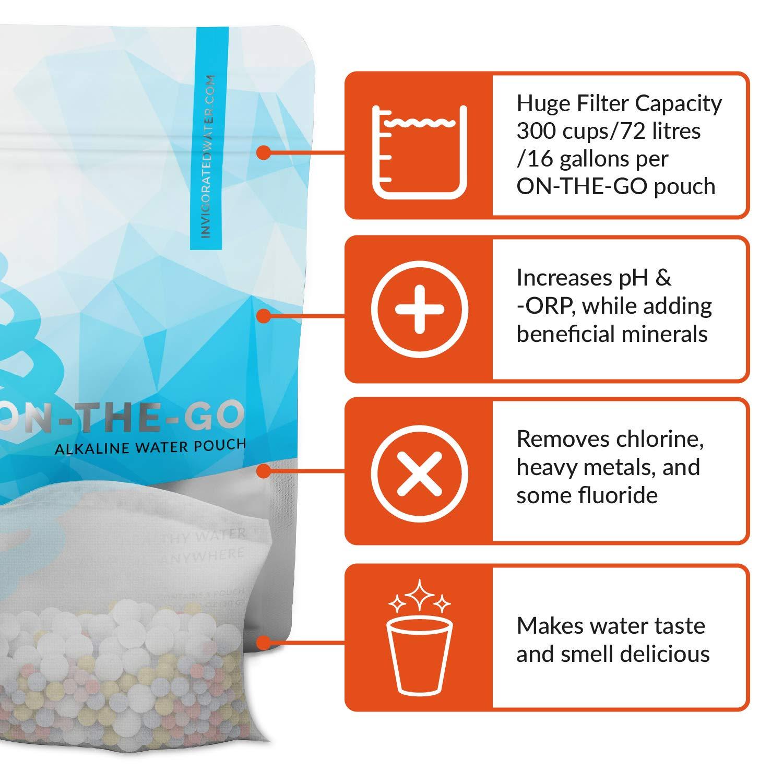 pH ON-THE-GO - Bolsa filtro para agua alcalina y pH alto - Compatible con botellas, jarras y cualquier otro recipiente - 30 g (Pack de 3 unidades): ...
