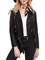 Verdusa Women's Faux Leather Motorcycle Biker Short Coat Jacket Slim Zipper Jacket