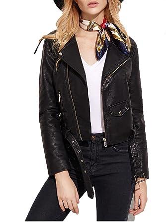 Verdusa Women's Faux Leather Motorcycle Biker Short Coat Jacket ...