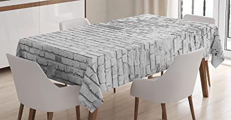 Rustic Home Decor Tablecloth By Ambesonne Worn And Cracked Grunge Stained Brick Wall Masonry Architecture