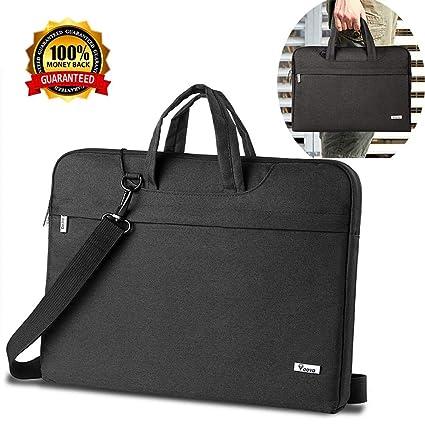 c6ed556d59c8 V Voova Laptop Shoulder Bag, Briefcase Messenger Tote Case, Compatible 15  15.6 Inch Acer MacBook Pro Notebook/Dell Ultrabook/Chromebook, Black
