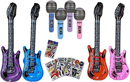 Amazon.com: Rock Star Party Favors Set – 12 Guitarras ...