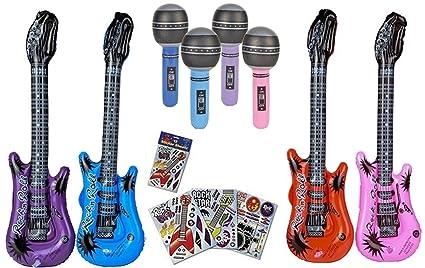 Amazon.com: Rock Star Party Favors Set – 12 Guitarras ...
