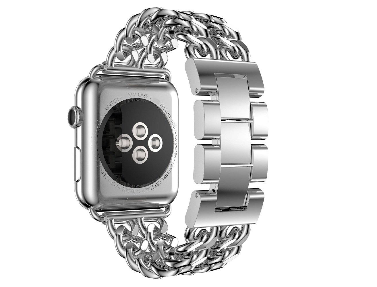 Juzzhou Band For Apple Watch iWatch Sport Edition Replacement Stainless Steel Wriststrap Bracelet Watchband Wristband Wrist Strap Bands With Metal Adapter Buckle For Woman Girl Man Boy Silver 38mm by Juzzhou (Image #2)