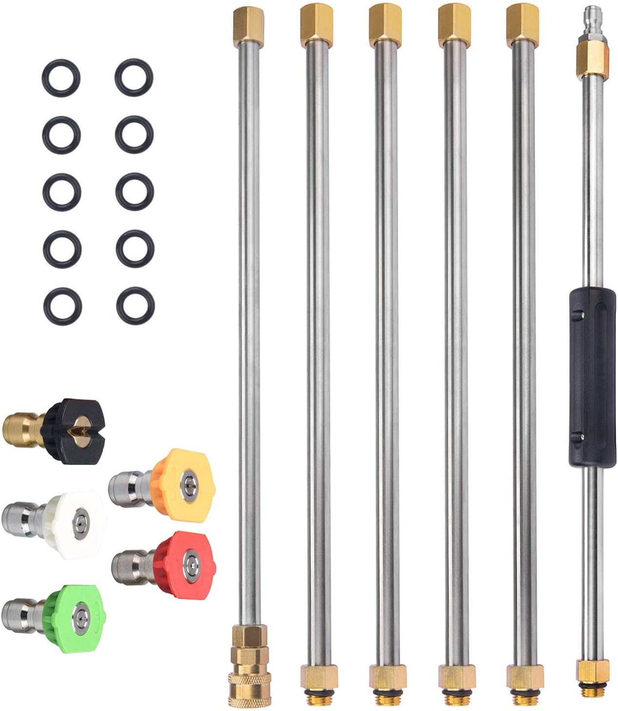 DUSICHIN DUS-104 Pressure Washer Wand Extension Pole Replacement Lance 7.5-Feet 1/4'' Quick Connect 4000 PSI with 5 Water Nozzles