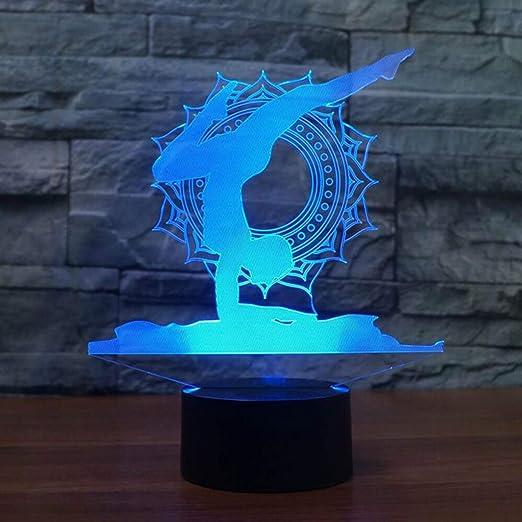 Jinson well 3d Yoga lámpara de mesa luz nocturna cambio de 7 ...