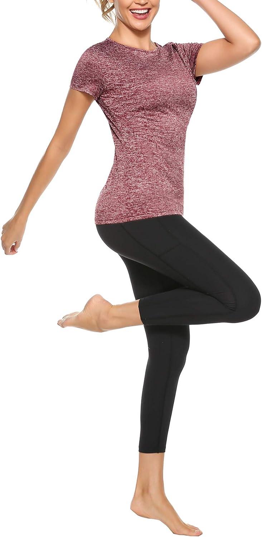 Damen T-Shirt Kurzarm Laufen Fitness Schnell Trocken Sportshirt