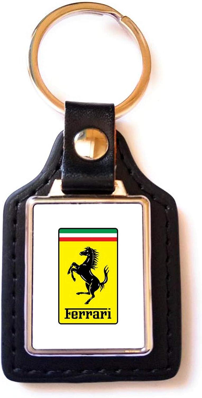 Color Blanco Print Corner Llavero de Acero y Piel sint/ética con Logotipo de Ferrari