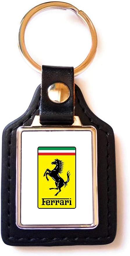 Print Corner Schlüsselanhänger Luxury Stahl Kunstleder Ferrari Logo Weiß Auto