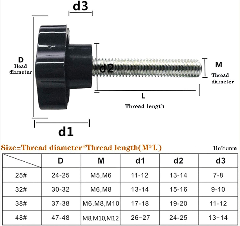 Size : 8mm Head 25mm DWhui M4 M5 M6 M8 M10 M12 Star Shape Thread Clamping Handle Bolt Hand Knob Tightening Screw Color : M4 10pcs