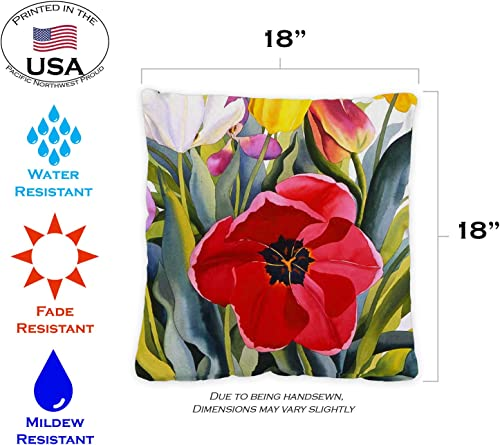 Toland Home Garden 721219 Tulip Garden 18 x 18 Inch Indoor Outdoor, Pillow with Insert 2-Pack