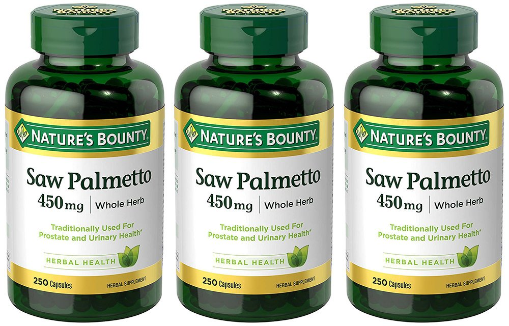 Natural Saw Palmetto 450 mg, 3 Bottles (250 Count)