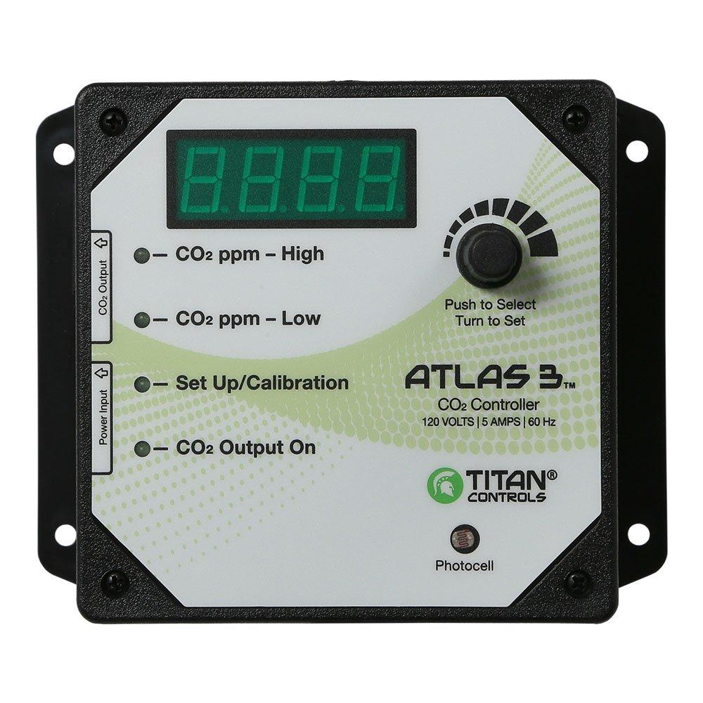 Titan Controls Day/Night Carbon Dioxide (CO2) Monitor & Controller w/ Photocell, 120V - Atlas 3