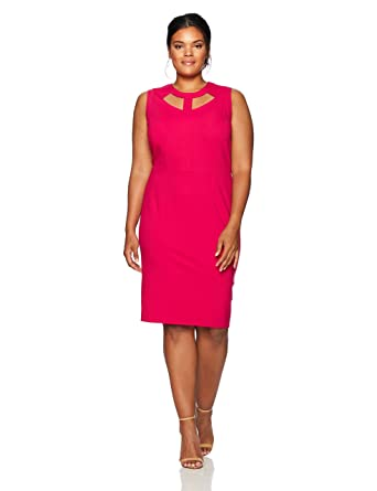 Nine West Women\'s Plus Size Solid Ponte Dress with Cut Outs in ...