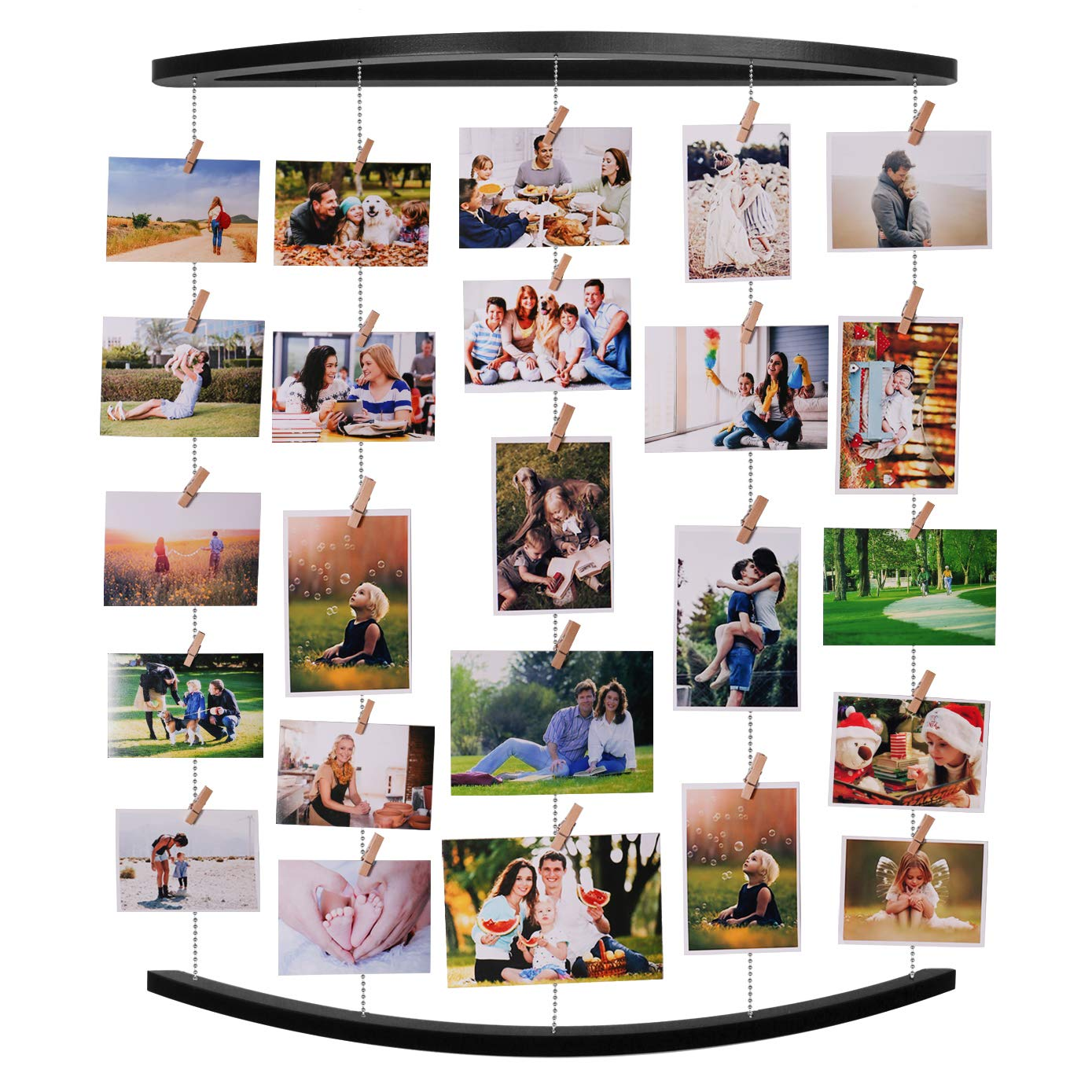 EASTERNSTAR Photo Collage Frames Hanging Display Natural Wood Multiple Picture Organizer 26.2 x 22.7 inch with 30 Clips for Family Office (Black) by EASTERNSTAR