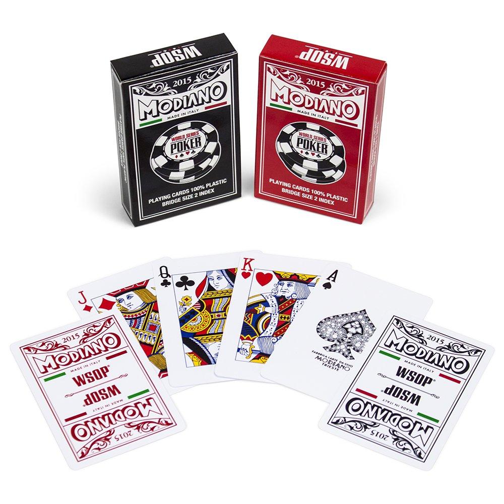 Modiano 2015 World Series of Poker Plastic Playing Cards, Red/Black, Bridge Size, Regular Index
