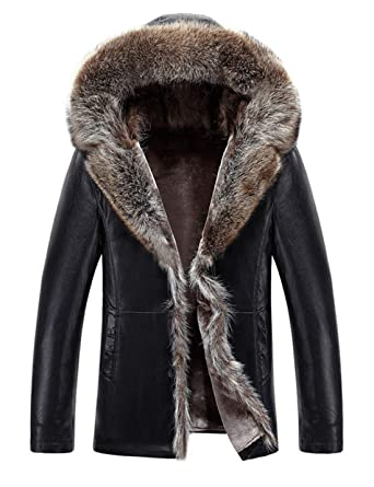 1c2e110be17 Tanming Men s Winter Hooded Raccoon Fur Collar Sherpa Lined PU Leather  Jackets (Black