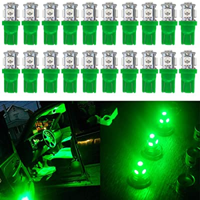 Qoope - Pack of 20 - Bright Green 194 T10 168 2825 W5W Car Interior Replacement LED Light Bulb - 5th Generation 5050 Chipsets 5SMD Lighting Source for 12V License Plate Map Dome Lights Lamp: Automotive