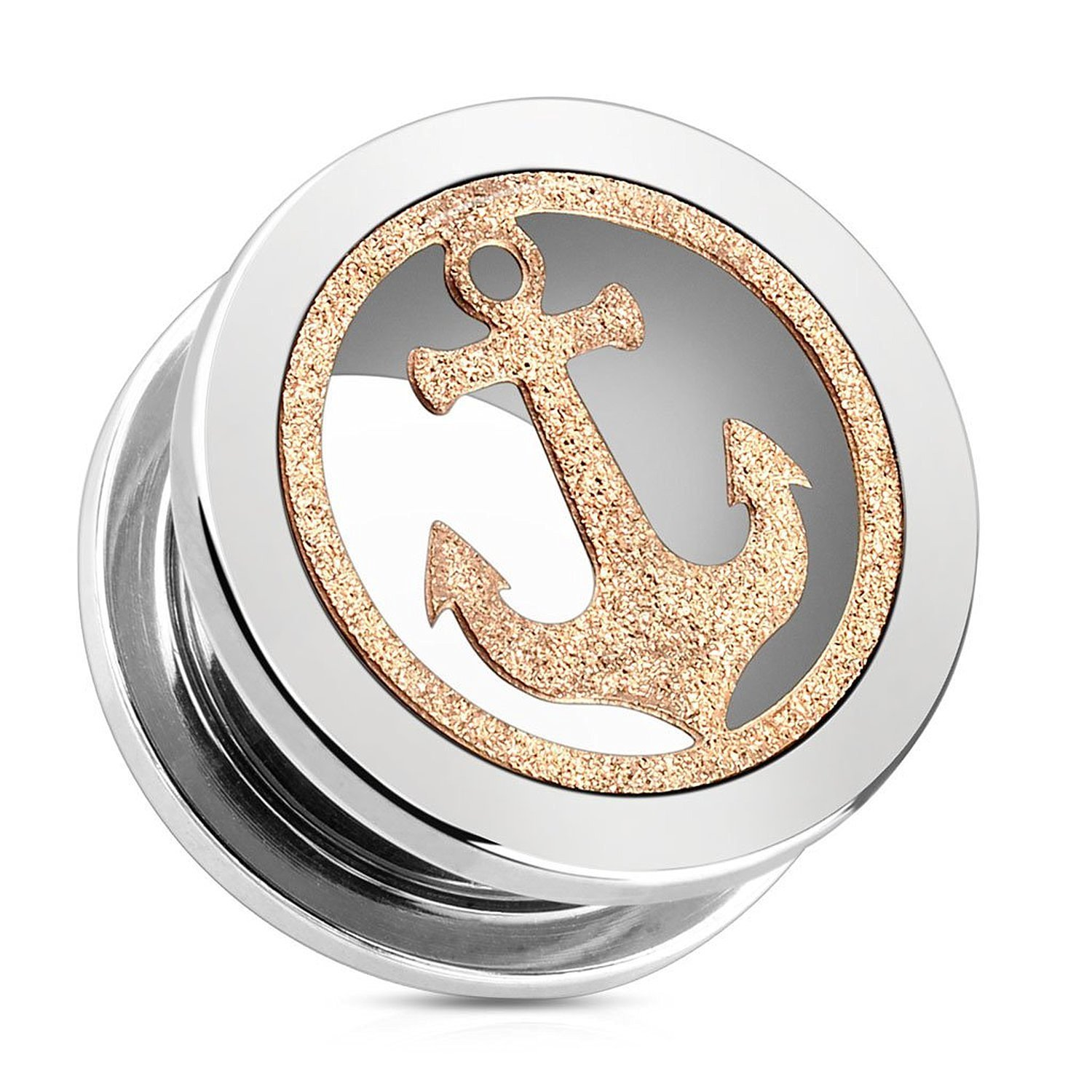 Rose Gold Glittery Anchor 316L Surgical Steel Screw Fit Tunnels (Sold as a Pair) (00G)