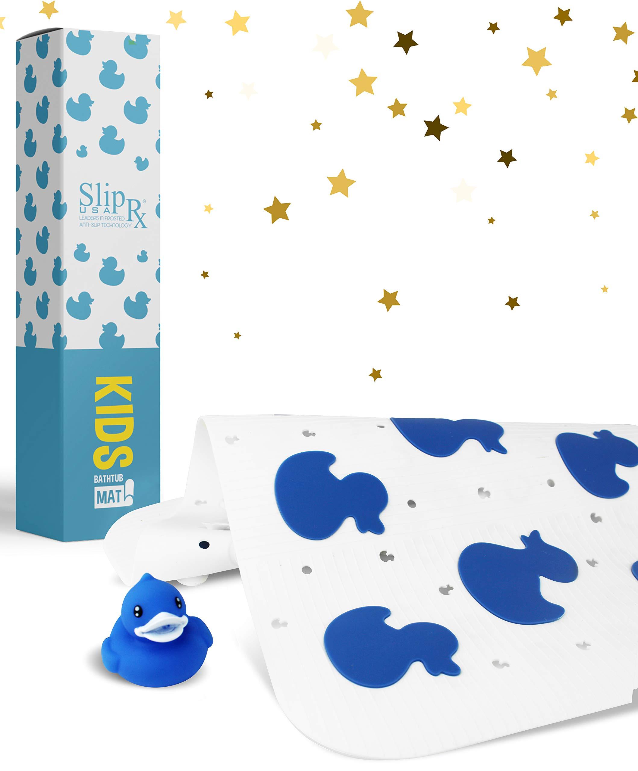 Kids Non-Slip Bathtub Mat | Non-Toxic Shower Grip, Machine Washable, Antibacterial, BPA, Latex, Phthalate Free | Mold & Mildew Resistant, Anti-Slip Bath Tub Baby Bathroom Mats (Duck) (Blue Ducks)