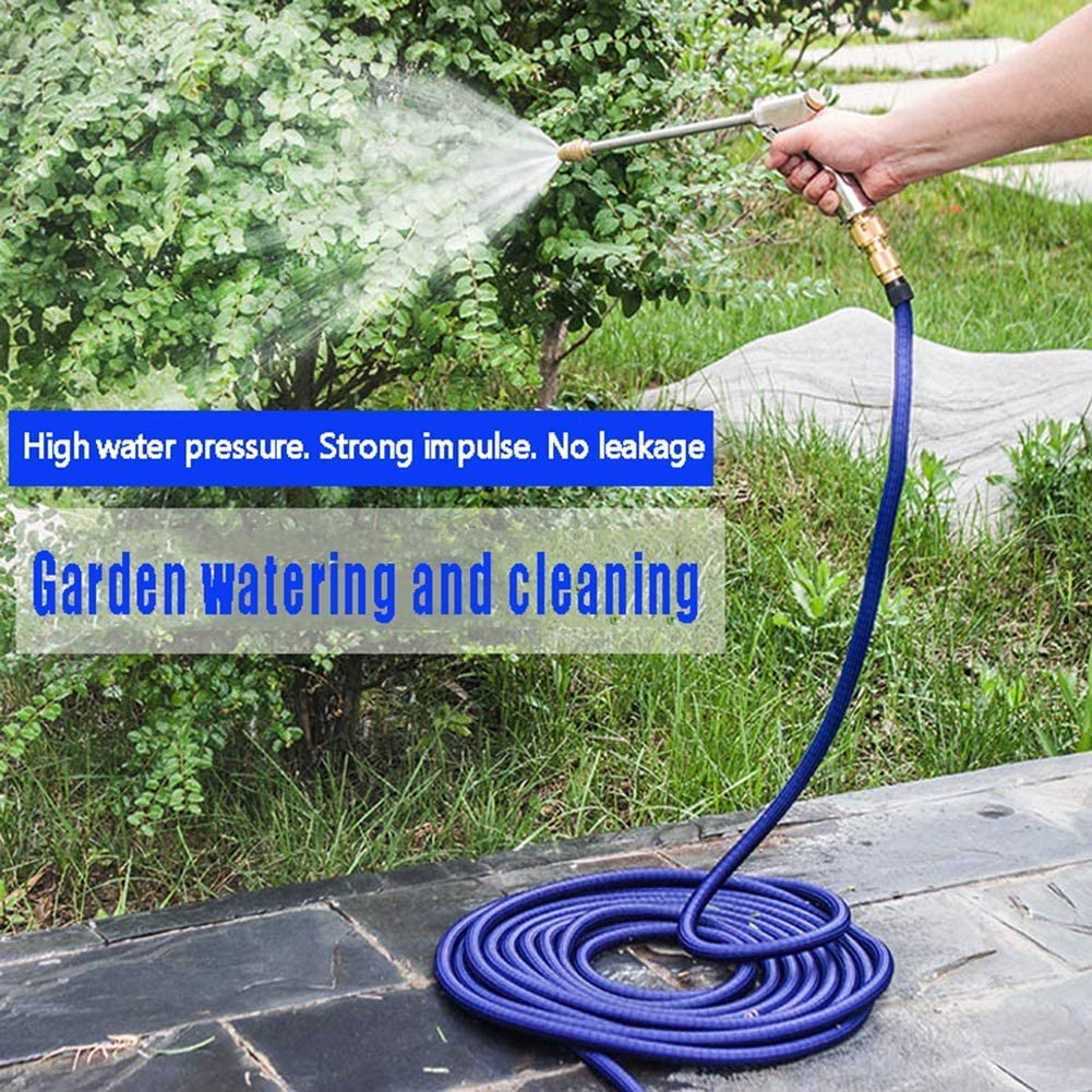 Expandable Garden Hose Pipe, Expanding Magic Water Hose Set, with Spray Water Gun, for Watering Plants, Car Wash and Garden Showers Blue