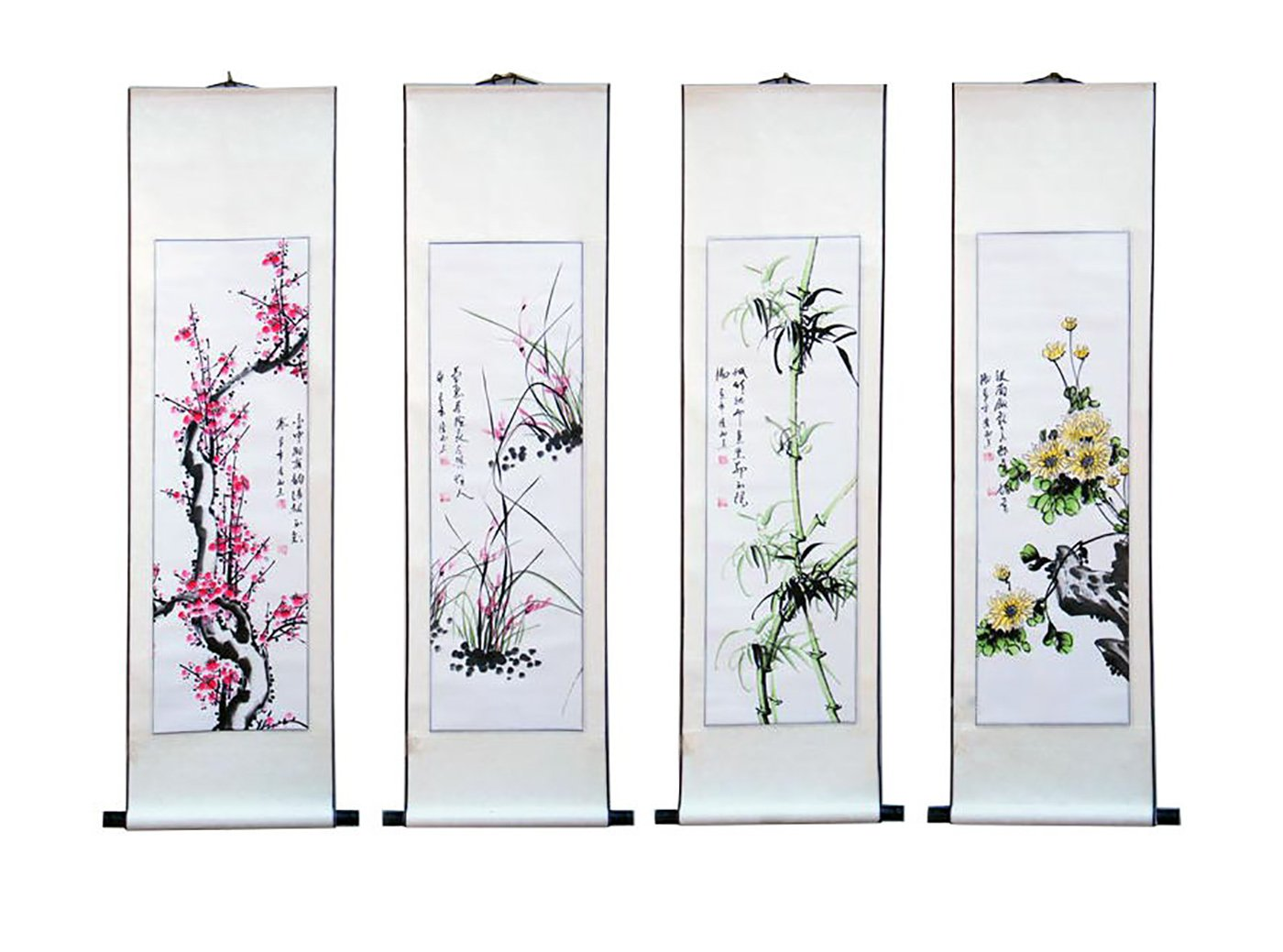 Chinese Traditional Hand Painting Ink Feng Shui Scrolled Painting Office and Living Room Decoration Wealth and Good Luck