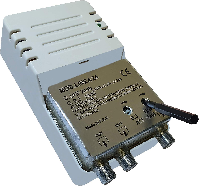 Línea 24 - Amplificador para Antena Digital de Interior a 2 Salidas, Conector F, Amplificador de línea con Ganancia Ajustable 24 dB VHF/UHF