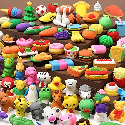 6 Novelty Pencil Eraser Rubbers Kids Party Bag Fillers Vegetables Theme